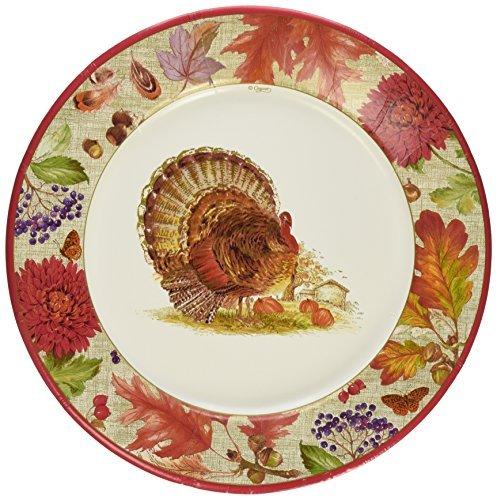 Entertaining with Caspari 12260DP Harvest Gathering Dinner Plates, Brown by Entertaining with Caspari