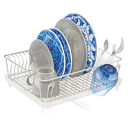 mDesign Large Metal Kitchen Countertop, Sink Dish Drying Rack - Removable Plastic Cutlery Tray, Drainboard with Adjustable Swivel Spout - 3 Pieces - Satin/Clear Frost