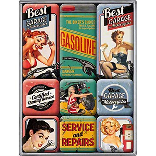 Nostalgic-Art Juego de Imanes Retro Best Garage – Regalo para Aficionados a Coches y Motos, Decoración para la Nevera, Diseño Vintage, 9 Unidades
