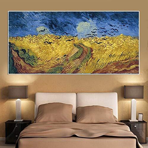 wZUN Cuadros de Pintura en Lienzo con Copia de Cuervo Cuervo de Van Gogh e Impresiones 60x120 Sin Marco