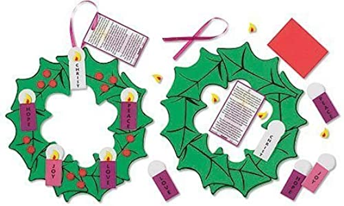 Pack of 24 Nativity of Christ Hanging Decoration Foam Ribbon Advent Wreath Arts & Craft Kit by Christian Brands