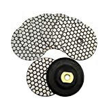 SHDIATOOL Dry Diamond Polishing Pads 4 Inch Set of 7 Pieces Plus a Rubber Backer for Granite Marble Stone