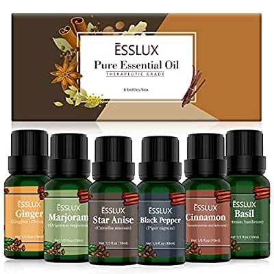 Essential Oils Set, ESSLUX Spicy Collection with Black Pepper, Ginger, Basil, Marjoram, Cinnamon, Star Anise Essential Oil, Perfect for Diffuser, Soap, Candle Making, Home Fragrance & Massage, 6x10 ML