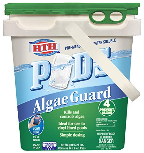 HTH 67157 Algae Guard Pods Swimming Pool Algaecide Cleanser, 14 ct