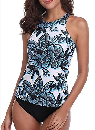 CORAFRITZ Traje de baño Tankini de 2 piezas para mujer, estampado floral, sin mangas con pantallas. Conjunto de traje de baño para control de barriga