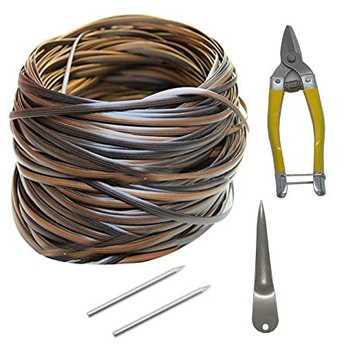 Kit de reparación de mimbre, material de ratán de plástico para reparación de sillas de patio (mimbre + herramientas de tejido) (70 metros/230 pies) (degradado marrón oscuro)