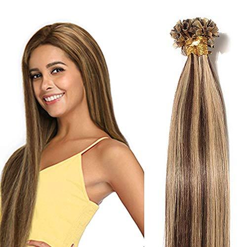 Extension Cheratina Capelli Veri 100 Ciocche 50g 40cm - 100% Remy Human Hair #4P27 Marrone Medio Balayage Biondo Scuro