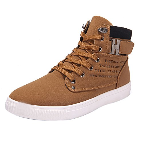 Skxinn Herren Hohe Sneaker Winterschuhe Warm Gefüttert Winter Stiefel Kurz Schnür Boots Schneestiefel Outdoor Freizeit Schuhe Gr 39-44(Khaki-Ungefüttert,45 EU)