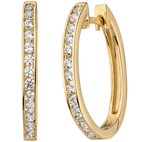 JOBO Damen Creolen oval 375 Gold Gelbgold 26 Zirkonia Ohrringe Goldcreolen Goldohrringe