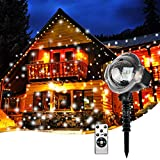 Proyector de Nieve Luces de Navidad con Control Remoto IP65 Impermeable Ajustable Velocidad de la Lámpara de la Nieve para Año Nuevo Fiestas Navidad Jardín Patio Indoor Outdoor Decoración