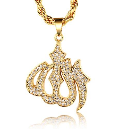 Halukakah  Allah  Hombres 18K Oro Verdadero Plateado Símbolo del Islam Allah Colgante Collar con Cadena de Cuerda Gratis 30'
