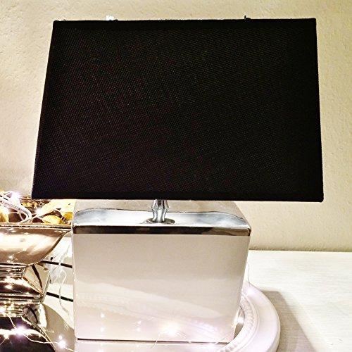 Keramik Lampen Lampenfuß Lampenschirm Tischlampe Nachttischlampe Tischleuchte (Tischlampe RECHTECKIG(Fuß: Weiß-Silb - Schirm:Schw)