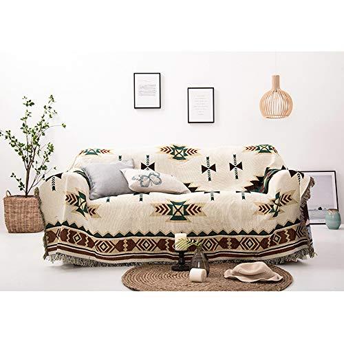 Decken Sucre Kuscheldecke Wendedecke 180x230cm,Sommerdecke Boho Baumwolle,Beige,Perfekt Fürs Sofa,Teppich, Sessel,Tagesdecke,Tischdecken