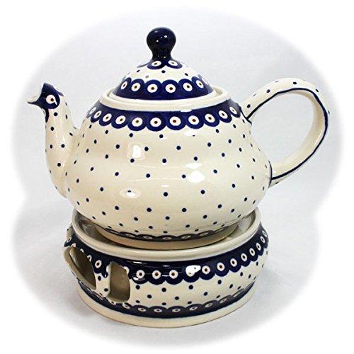 Teekanne mit Stövchen in weiß-blau-rotem Dekor, Bunzlauer Keramik