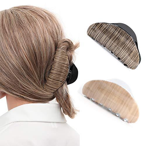 Avicom Haarspangen aus Acryl, schwarz, große Haarspange, Haarspangen, Haar-Accessoires für Frauen und Mädchen (2 Stück)