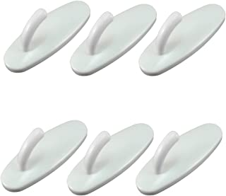 YKL World Adhesive Utility ABS Plastic Hook Stick On Sticky Wall/Door/Bathroom/Kitchen for Coat/Towels/Keys,Pack of 6 pcs (White)