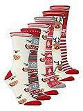Damen 6er Pack Weihnachtssocken 37-42 (cream mix)