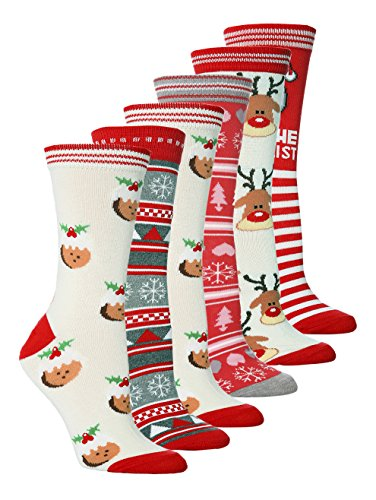 NEW Ladies 6 Pair Pack Novelty Festive Christmas Socks...