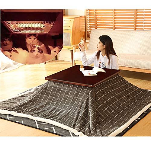 FMXYMC Kotatsu-Tisch, beheizter Tisch mit japanischem Herd, Tatami-Heizung aus massivem Holz, quadratischer Futon-Tisch (4-teiliger Tisch/Bettdecke/Teppich/Heizung),Black Walnut Table