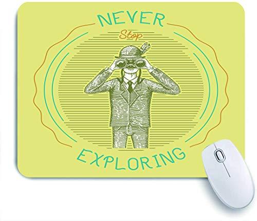 DAHALLAR Gaming Mouse Pad Rutschfeste,Mann im Kostüm, das durch das Fernglas schaut, Fernglas-alter Jäger, Ornithologe, Wissenschaftler im Holzschnitt,für Computer Laptop Office Desk,240 x 200mm