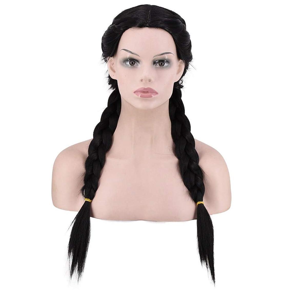 めったにアレイセイはさておきBOBIDYEE 黒の長い髪ハンド編組編組女性ダブルポニーテールウィッグ自然に見える合成ヘアレースウィッグロールプレイングかつら (色 : 黒)