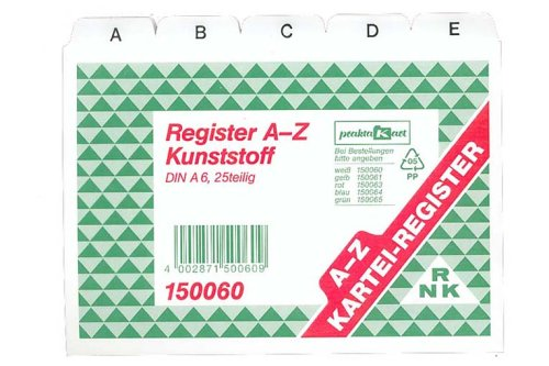 RNK-Vordruckverlag 150060 - Registerkarten A6 A-Z Plastik weiss