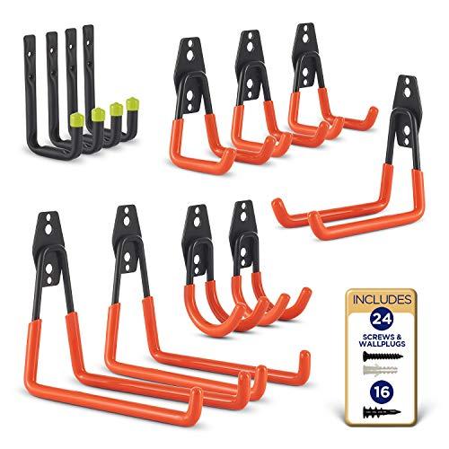 Heavy Duty Wall Hooks 12-Pack - Steel Garage Hooks - Wall Mount...