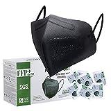 FFP2 Maske CE Zertifiziert Schwarz - 25 Stück Maske - Premium hygienische Einzelnverpackung Atemschutzmaske 5 Lagige Staubschutzmaske Mundschutzmaske CE 0598