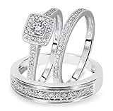 Ani's Juego de anillos de boda de 1/2 quilates de corte redondo D/VVS1 con diamante a juego para él y ella chapado en oro blanco de 14 quilates de plata 925