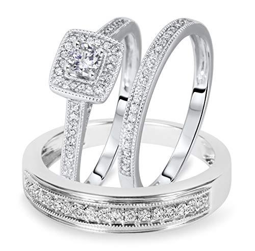 SLV Juego de anillos de boda de 1/2 quilates de corte redondo D/VVS1 con diamante a juego para él y ella chapado en oro blanco de 14 quilates de plata 925