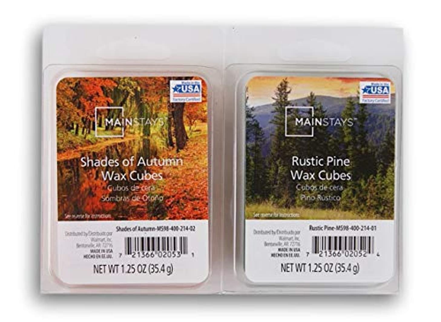 Seasonal Decor Mainstays Autumn Scents Wax Cubes Bundle - Rustic Pine and Shades of Autumn