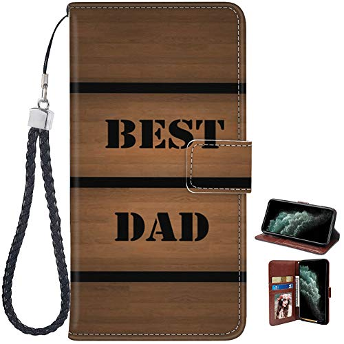 Designed Best Dad iPhone 11 Wallet Case Shockproof Flip Folio Synthetic Leather Magnetic Case for iPhone 11 with ID Credit Card Pockets Hand Strap