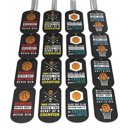 (12-Pack) Basketball Motivational Dog Tag Necklaces - Wholesale Bulk Pack of 1 Dozen Necklaces - Party Favors Sports Gifts Uniform Supplies for Basketball Players Fans Team Members