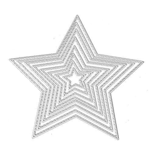 Gosear 8 Piezas Surtido de tamaños de Carbono Estrella de Acero en Relieve Matrices de Corte Plantillas moldes para Bricolaje álbum de Scrapbooking Tarjeta de Papel