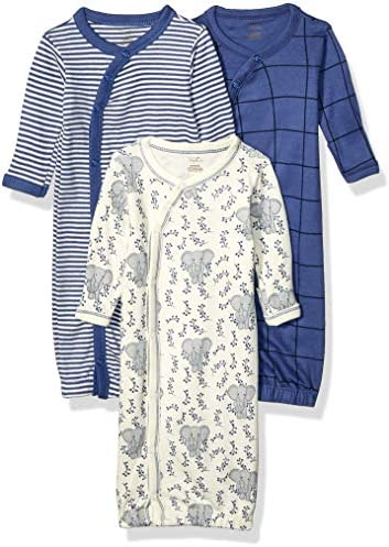 Touched by Nature unisex baby Organic Cotton Kimono Nightgown Elephant 0 6 Months US product image
