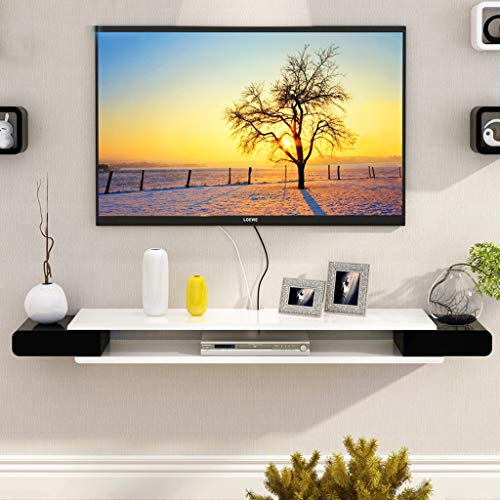 Wandplank Drijvende Plank Wandmontage TV Kast TV Plank Set Top Box Router Foto Speelgoed Opslag Plank TV Console TV Stands Wanddecoratie Plank, Black-white-1.3m