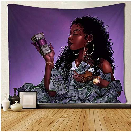 KBIASDTapiz de Arte Negro Afro Africano Ameircan Mujeres Chica Amor Dinero Colgante de Pared 200x150cm