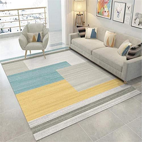 SYFANG Imagen de Bloque de Color Alfombras de Interior y Exterior para el hogar Muy Resistente, Brillo de Color Intenso, 140X200cm (55X79inch)