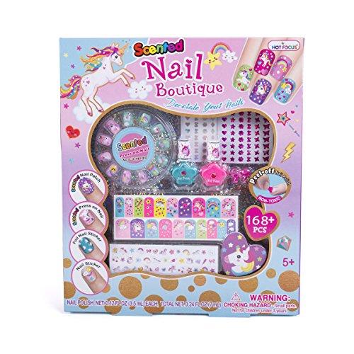 Hot Focus Scented Nail Boutique – 168 Piece Unicorn Nail Art Kit Includes Press on Nails, Nail Patches, Nail Stickers, Nail Polishes, Nail File and Ring – Non-Toxic Water Based Peel Off Nail Polish