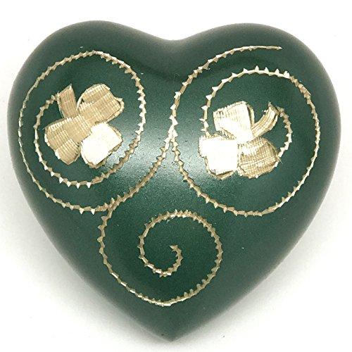 Ansons Urns Green Irish Shamrock Heart Keepsake Urn - Clover Mini Cremation Urn - Fits Small Amount of Ashes - Small Urn: Size 3'
