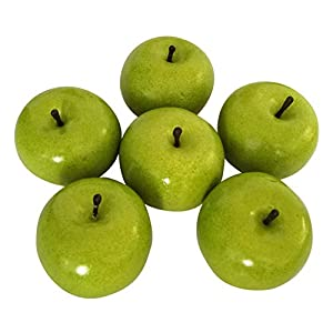 6pcs Artificial Apples Fake Apples Artificial Fruits Vivid Apples for Home Fruit Shop Supermarket Desk Office Restaurant Decorations Or Props (Green)