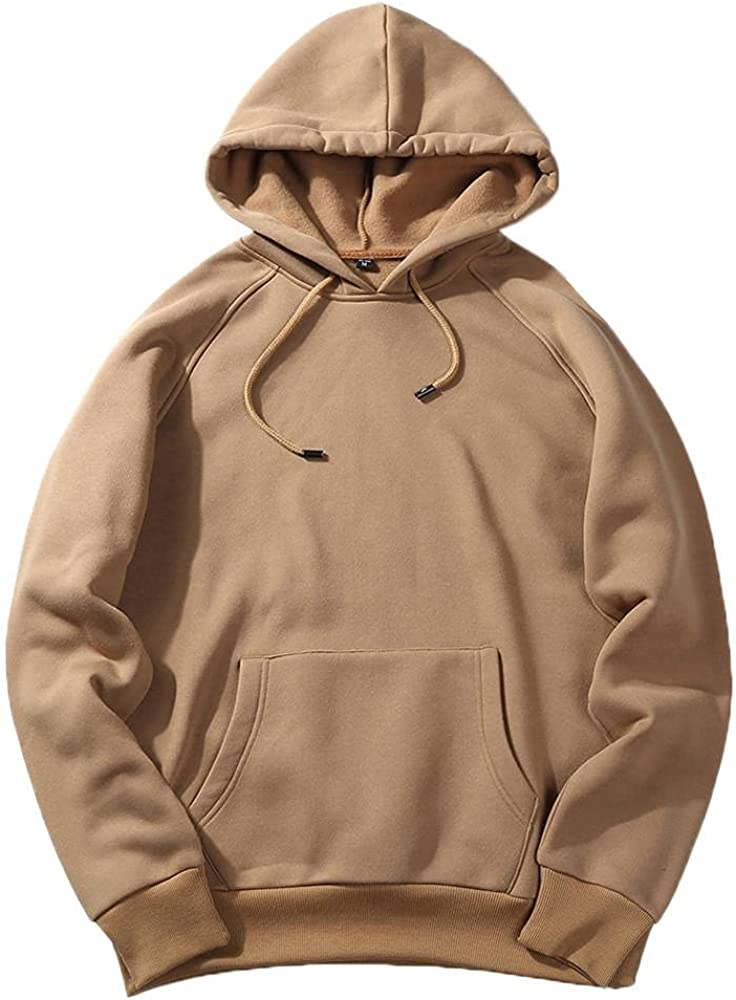 Men's Casual Hooded T-Shirts - Fashion Long Sleeve Solid Color Crewneck Sweatshirts Pullover Top Spring Fall Blouse