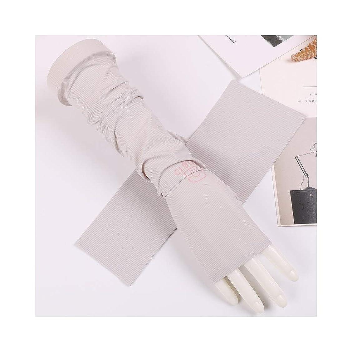 プロジェクターネクタイ参加者UVカット 手袋 アンチUVスリーブシンアイススリーブアームバンドサマーサンスクリーングローブ 紫外線対策 グローブ (Color : Gray, Size : One size-Five pairs)