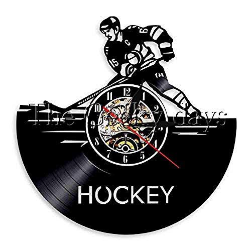 Wanduhr Schallplatte Eishockey Team Schallplatte Vinyl Wanduhr Modernes Design Sport Thema 3D Dekoration Hängen Vintage CD Wanduhr Wohnkultur @ D