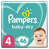 Couches Pampers Taille 4 (9-14kg) - Baby-Dry, 46Couches, Jusqu'À 12h De Protection