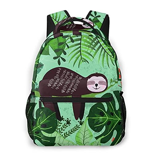 SXCVD Zaino casual,Tropicale estate bradipo orso tucano palme albero di banana,Zaino per laptop da lavoro,Zaino da viaggio per escursionismo per uomo,donna,adolescente