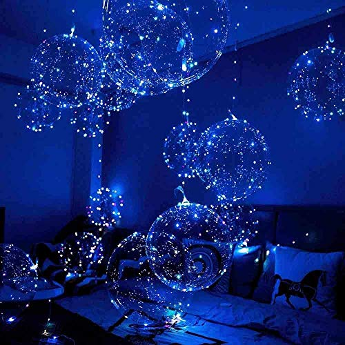Light Up Led Balloons, 12 Pack Party Balloon Cell Battery 20 Inch 3 Mode Flashing String Lights Clear Balloon, for Birthday Wedding Decorations (4 Colors)