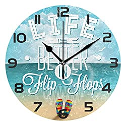 WellLee Life is Better in Flip-Flops Seascape Clock Acrylic Painted Silent Non-Ticking Round Wall Clock Home Art Bedroom Living Dorm Room Decor