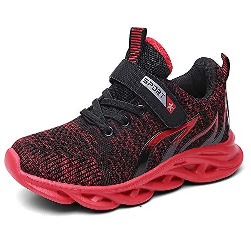 Mitudidi Schuhe Jungen Sneaker 34 Kinderschuhe Hallenschuhe Laufschuhe Sportschuhe Innen Außen Basketballschuhe Tennisschuhe Klett Flach Kids Sport Schuhe für Unisex-Kinder Schwarz Rot