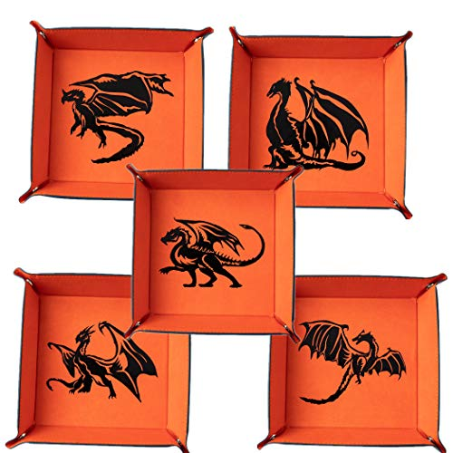 PUGED 6 Pack Dragon DND Dice Trays Set Leather Folding Square Holder Portable Dice Storage Box for Rolling Dice Games RPG, D&D and Other Table Games
